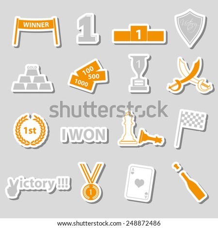 flawless victory symbols set of color stickers eps10 - stock vector