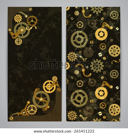 Flayer templates with bronze steampunk decor - stock vector