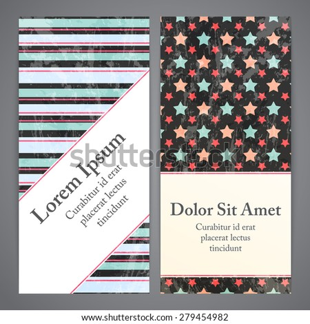 Flayers with retro patterns - geometric. Textured grunge vector patterns for vintage and hipster invitation or banner.
