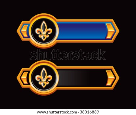 fleur de lis blue and black arrows - stock vector