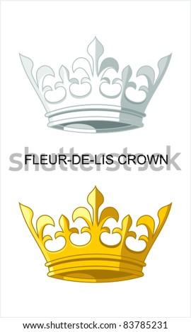 Fleur-de-lis Crown - stock vector