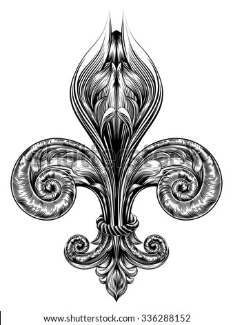 Fleur de lis decorative design element or heraldic symbol in a vintage woodblock style - stock vector