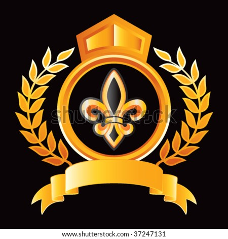 fleur de lis gold royal crest - stock vector