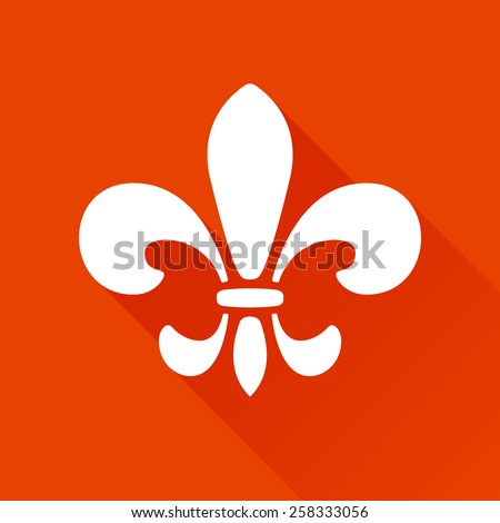 Fleur de lis graphic logo symbol with long shadow - stock vector