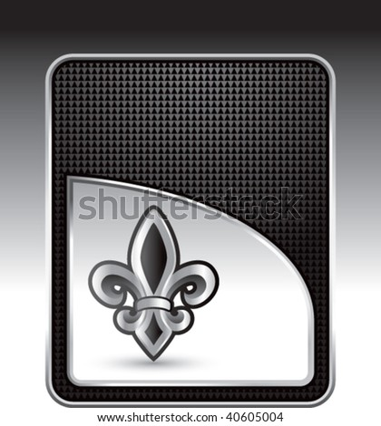 fleur de lis on black checkered background - stock vector