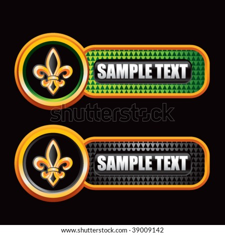fleur de lis on green and black checkered tabs - stock vector