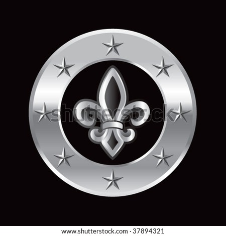 fleur de lis on silver star ring - stock vector