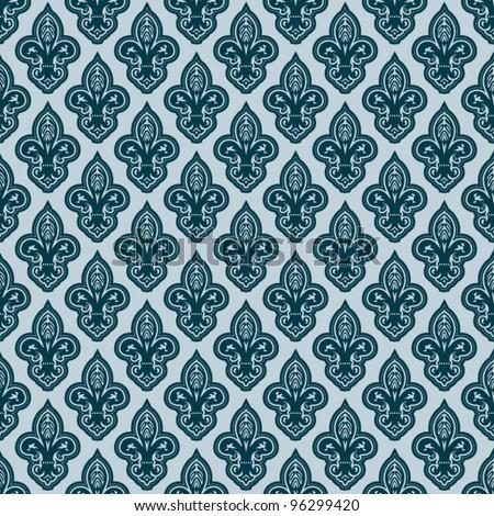 fleur-de-lis seamless vector pattern - stock vector