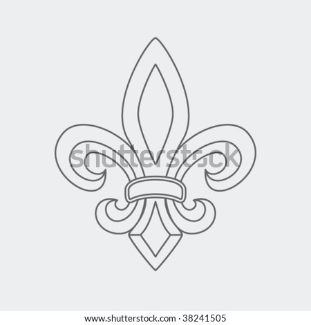 fleur de lis symbol drawing - stock vector