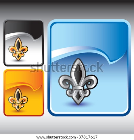 fleur de lis symbol on multicolored rip curl banners - stock vector