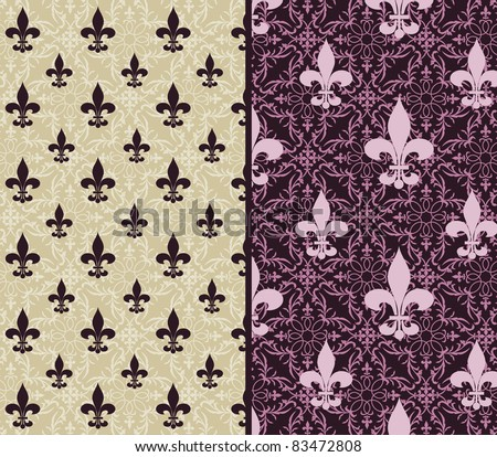 Fleur de lis wallpaper 2 choices (release clip mask) - stock vector