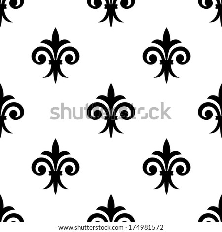 Fleur de lys seamless pattern background for any medieval design or wallpaper - stock vector