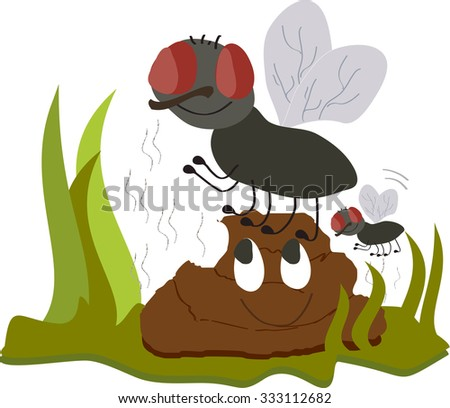 Flies on smiling, smelly poo funny cartoon - stock vector
