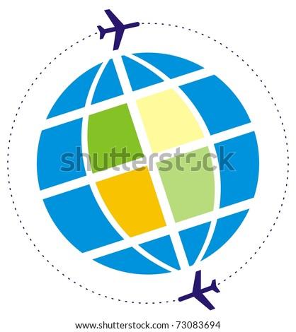 flight around the globe - stock vector