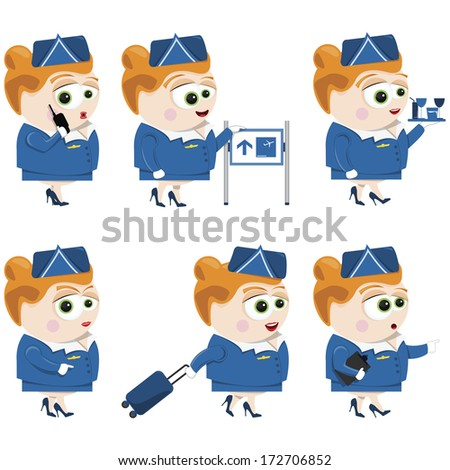 flight attendant - stock vector