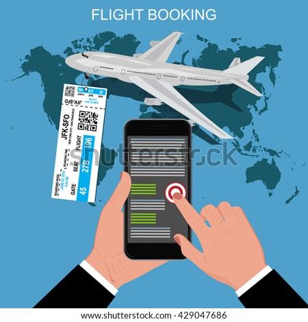 flight booking concept, vector illustration. - stock vector