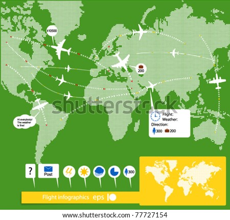 Flight infographics. Civil airplanes trajectories on world map with notes - stock vector