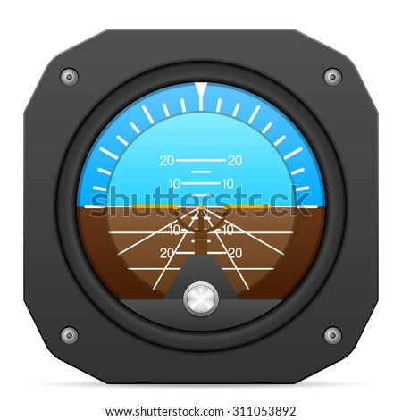 Flight instrument attitude indicator on a white background. - stock vector