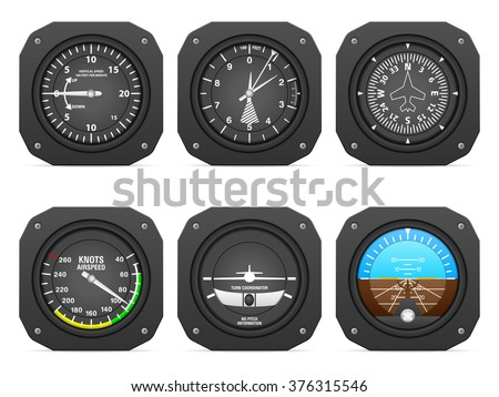 Flight instruments on a white background. - stock vector