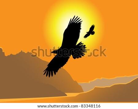 Flight of eagles - stock vector