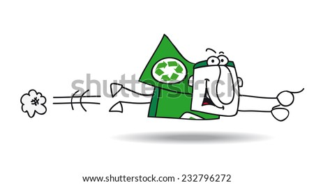flight of Super recycling hero. Super Recycling Hero is flying very fast ! It's an emergency. He can help your company to recycling her wastes ! - stock vector