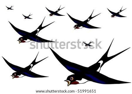 Flight of swallows on the white background vector eps10 - stock vector