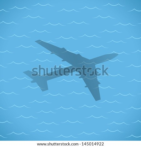 flight over sea. travel concept. vector eps10 - stock vector