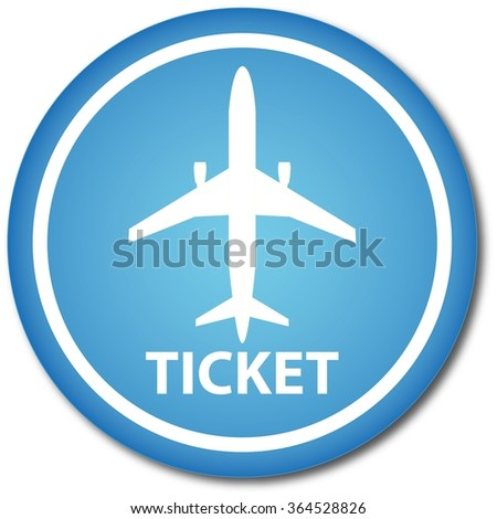 Flight ticket button - stock vector