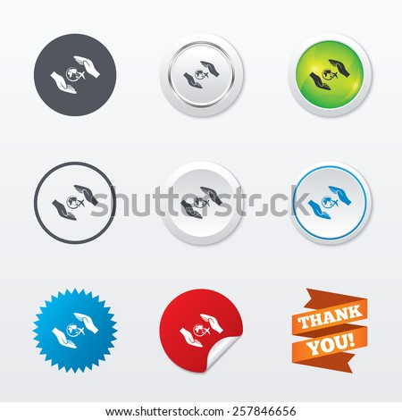 Flight trip insurance sign icon. Hands protect cover plane symbol. Travel insurance. Circle concept buttons. Metal edging. Star and label sticker. Vector