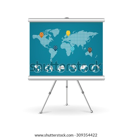 Flip chart business concept. Map with points markers. Vector illustration - stock vector