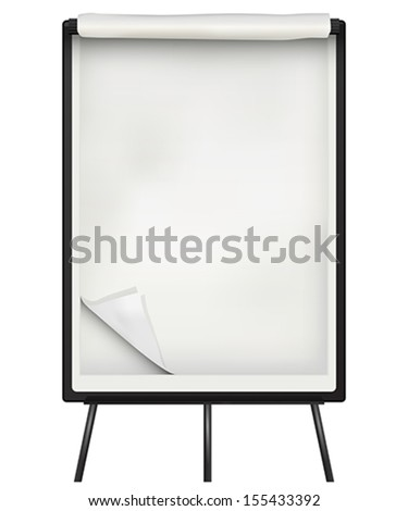 Flip chart  paper and board over white background - stock vector