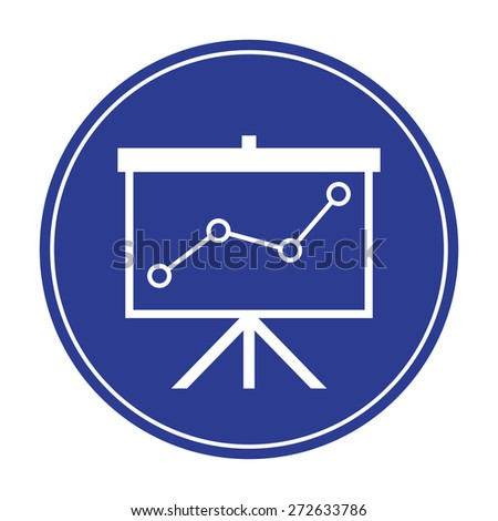 Flip-chart, projection screen with a graph - stock vector