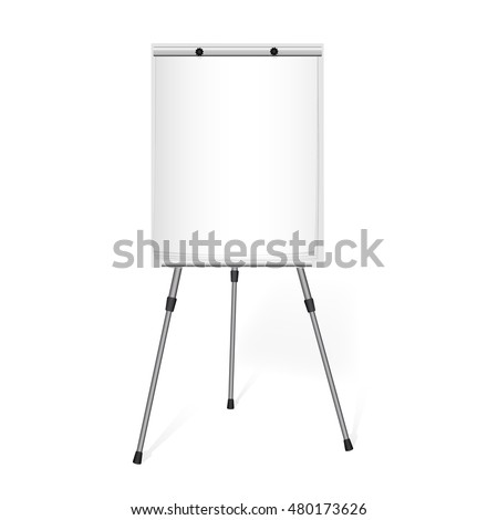 Flip chart with a blank sheet of paper on a tripod in the office.