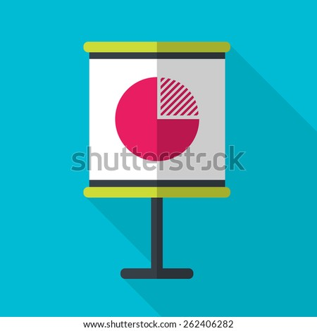 Flip chart with diagram. Pie Graph. Flat icon with long shadow. Vector illustration.  - stock vector