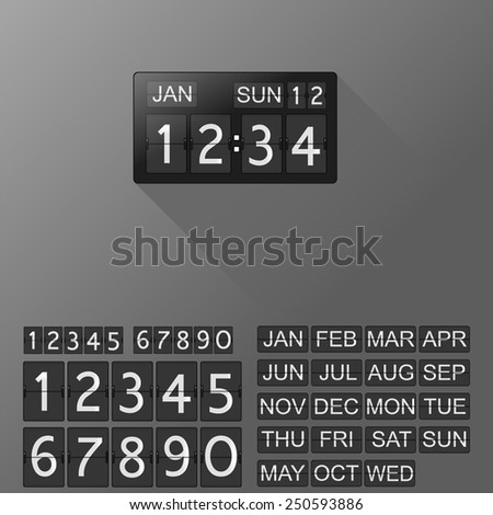 Flip clock and calendar with separate digits and months