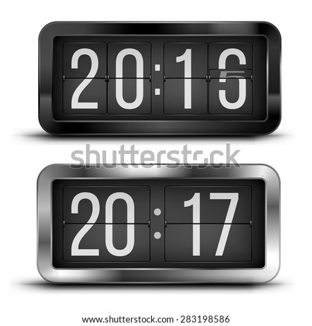Flip clock as counter for 2015-2016-2017 new year countdown. Vector illustration - stock vector