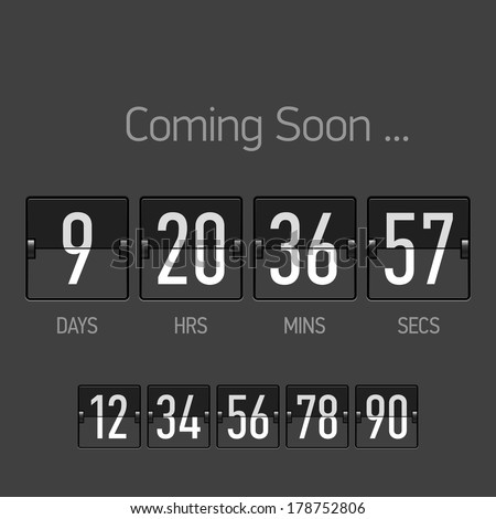 Flip Coming Soon, countdown timer template. Vector. - stock vector