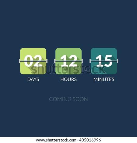 Flip Countdown timer vector clock counter. Flat style. - stock vector