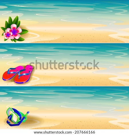 Flip-flop, floral, diving mask on the beach banner set  - stock vector