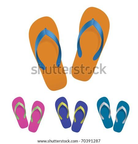Flip flop set. Vector illustration on white background - stock vector