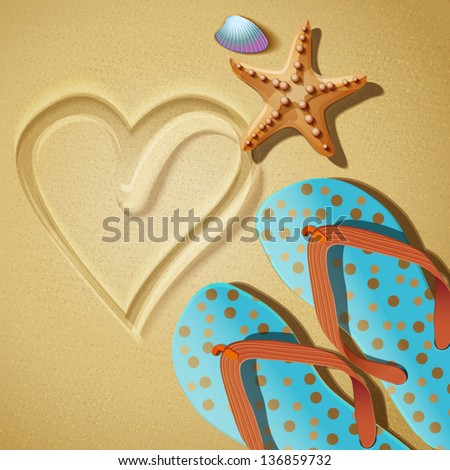 Flip flops and shells and starfish on the beach. Vector illustration. - stock vector