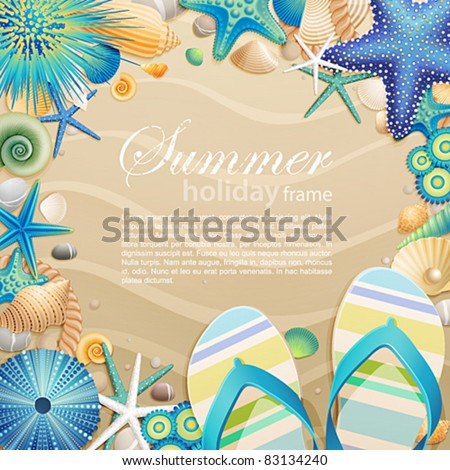 Flip-flops and shells frame on the beach. Vector illustration. - stock vector
