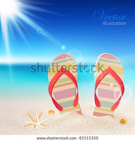 Flip-flops and shells on the beach. Vector illustration. - stock vector