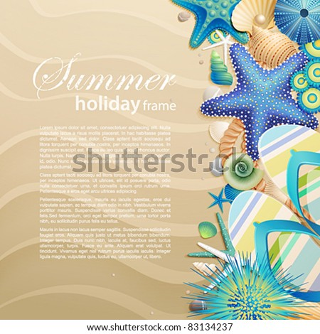 Flip-flops and shells on the beach. Vector illustration. - stock vector
