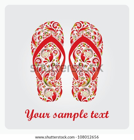 Flip flops, made of the leaf pattern. Vector EPS10 illustration. - stock vector