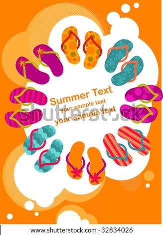 flip-flops on the summer poster - stock vector