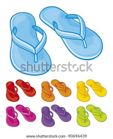 flip flops set (flip flops collection) - stock vector