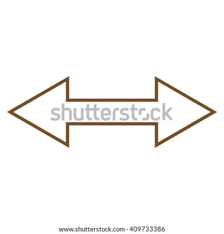 Flip Horizontal vector icon. Style is contour icon symbol, brown color, white background. - stock vector