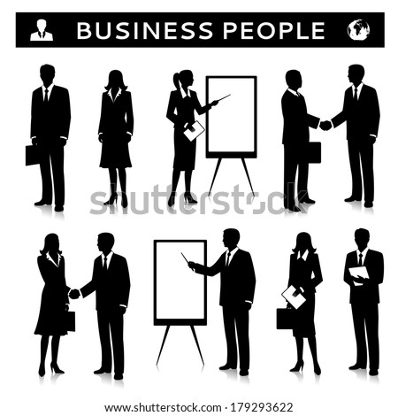 Flipcharts with business people silhouettes talking handshaking and collaborating vector illustration - stock vector