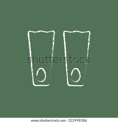 Flippers hand drawn in chalk on a blackboard vector white icon isolated on a green background. - stock vector